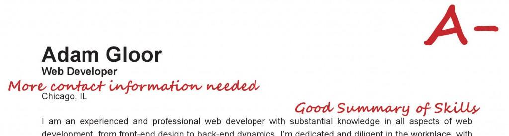 Resume Grade 1 - Web Developer